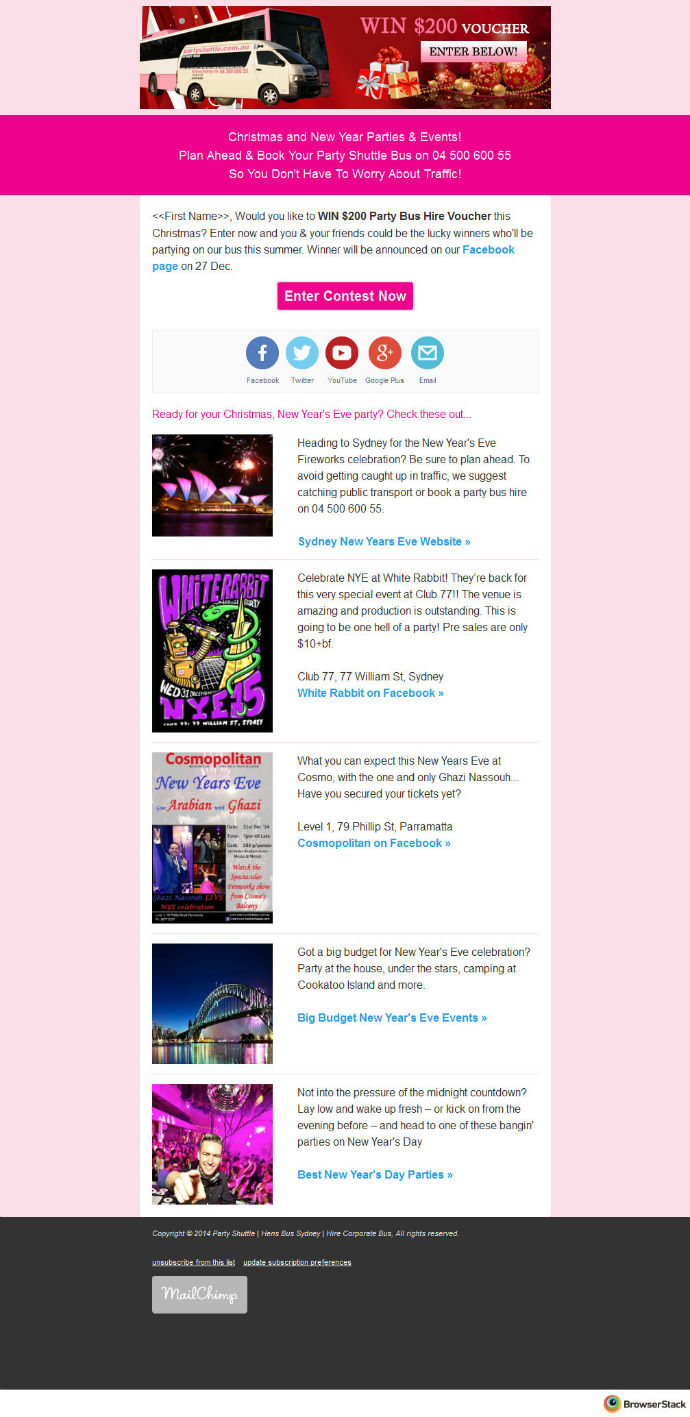Party Shuttle EDM Email Campaign